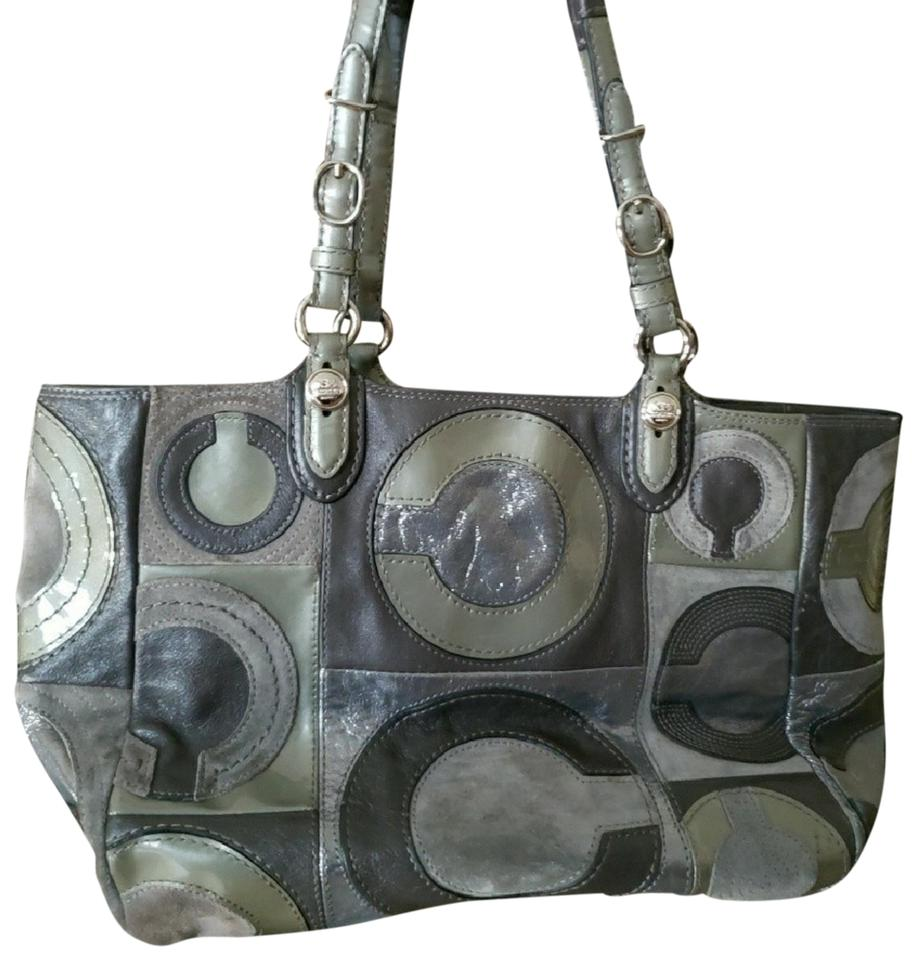 Coach C Signature Patchwork Multi Grey Suede Leather Shoulder Bag ... f64df5065bf0d