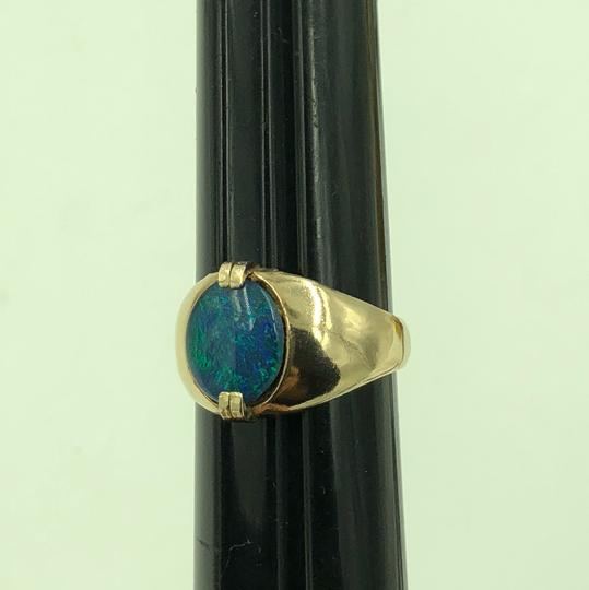 Stamped & Tested 10KT Yellow Gold Opal Ring Size 10 Image 1