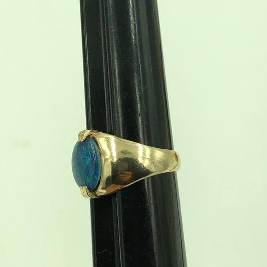 Stamped & Tested 10KT Yellow Gold Opal Ring Size 10 Image 2