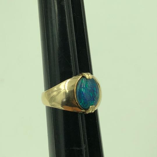Stamped & Tested 10KT Yellow Gold Opal Ring Size 10 Image 3