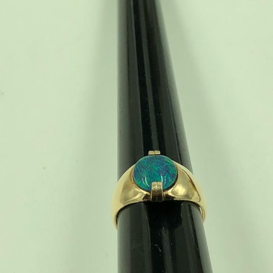 Stamped & Tested 10KT Yellow Gold Opal Ring Size 10 Image 4