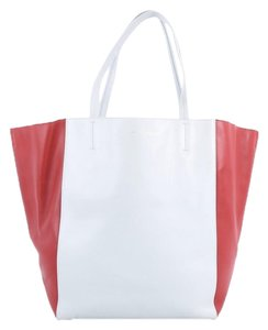 Céline Leather Tote in light blue and red