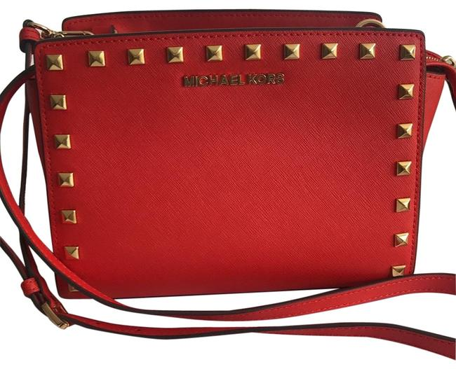 Item - Selma Studded Embossed Bright Red Leather Cross Body Bag