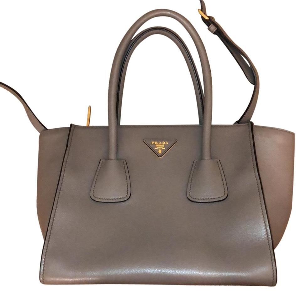 698d392c0151 Prada Twin Glace Calf Shopping Tote with Shoulder Strap Grey Calfskin  Leather Cross Body Bag