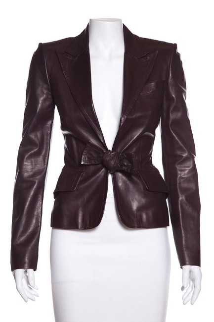 Item - Eggplant Bow-detail Jacket Size 2 (XS)