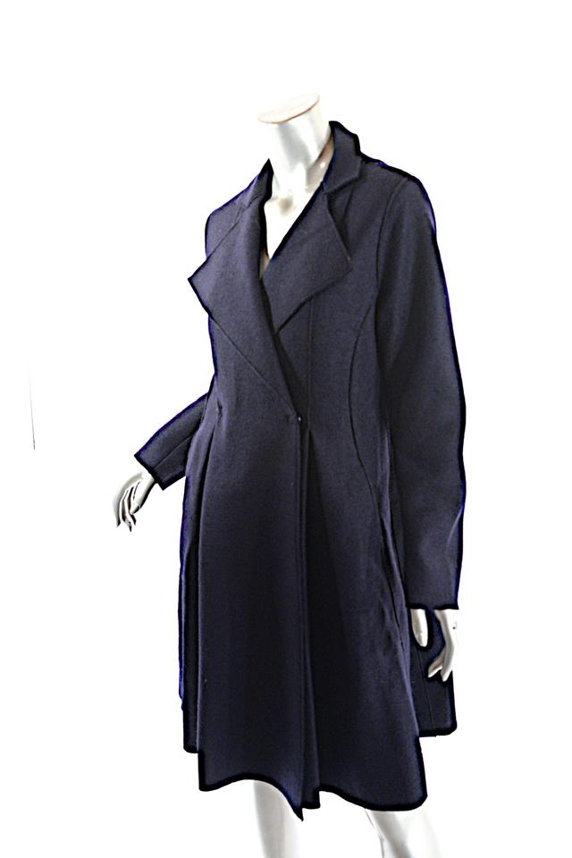 Harris Wharf London Navy Virgin Boiled Wool A-line Unlined Coat Size ... 3660a8dcb6269