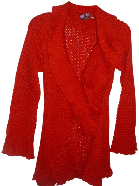 Item - Red Bright Loose Knit Crochet Sweater Ruffle Metallic S Cardigan Size 6 (S)