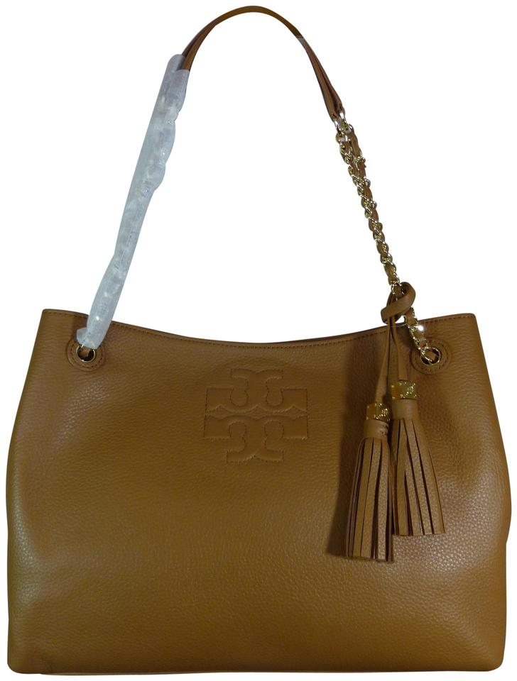 905acab5986 Tory Burch Thea Bark Chain Slouchy Brown Pebbled Leather Tote - Tradesy
