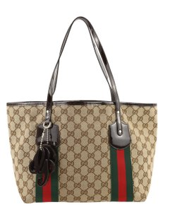 Gucci Gg Canvas Canvas Vintage Webby Tote in Brown