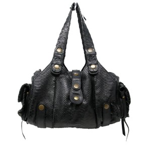 Chloé Monogram Paddington Crocodile Snakeskin Rihanna Satchel in Black Nero