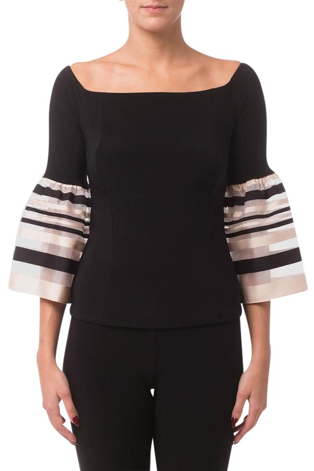 aac0341bf0f Joseph Ribkoff Black Off-shoulder Striped Sleeve Blouse Size 8 (M ...