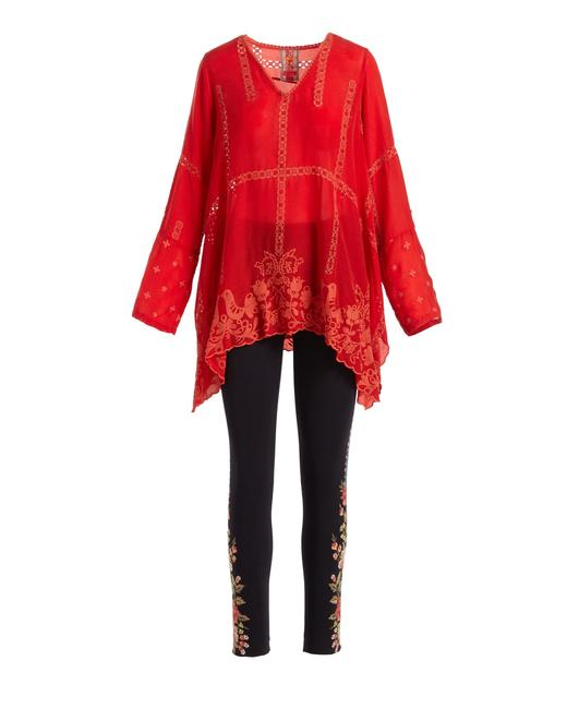 1ee83e9f130d76 Johnny Was Longsleeve V-neck Embroidered Rayon Tunic Image 11