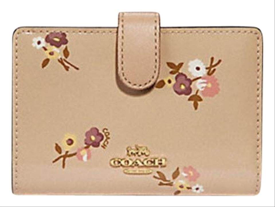 ece78313 Coach Beige Corner Zip Medium with Baby Bouquet Print F31578 Wallet 51% off  retail