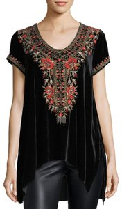 Johnny Was V-neck Short Sleeve Embroidered Velvet A-line Tunic