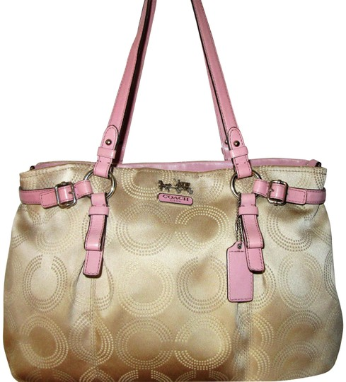 Preload https://img-static.tradesy.com/item/24165426/coach-madison-dotted-carryall-khakipink-op-art-fabric-with-leather-trim-shoulder-bag-0-1-540-540.jpg