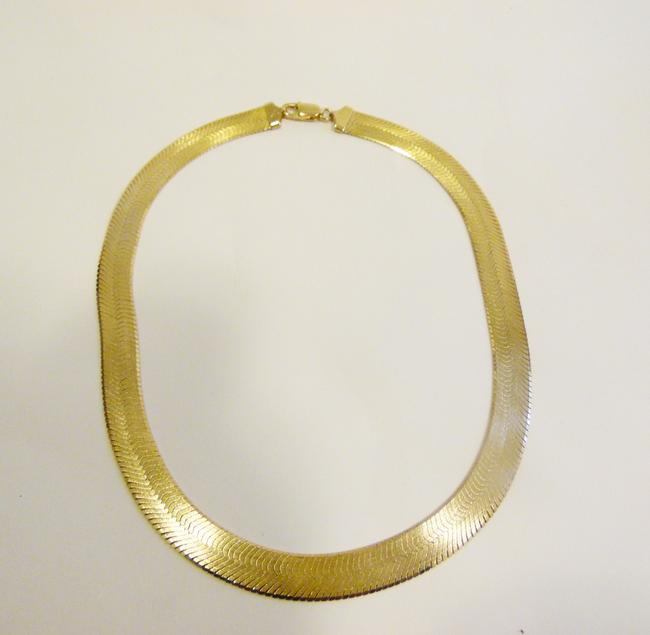 Item - Sterling Silver/.925 18k Bonded 18 Inch Italy Yellow Gold High Polish Herringbone Reversible Omega Necklace
