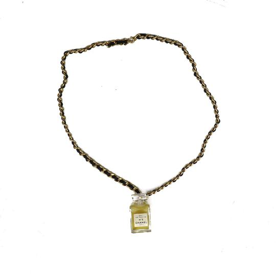 Chanel Chanel No 5 Perfume Bottle Pendant Necklace with Black and Gold Chain