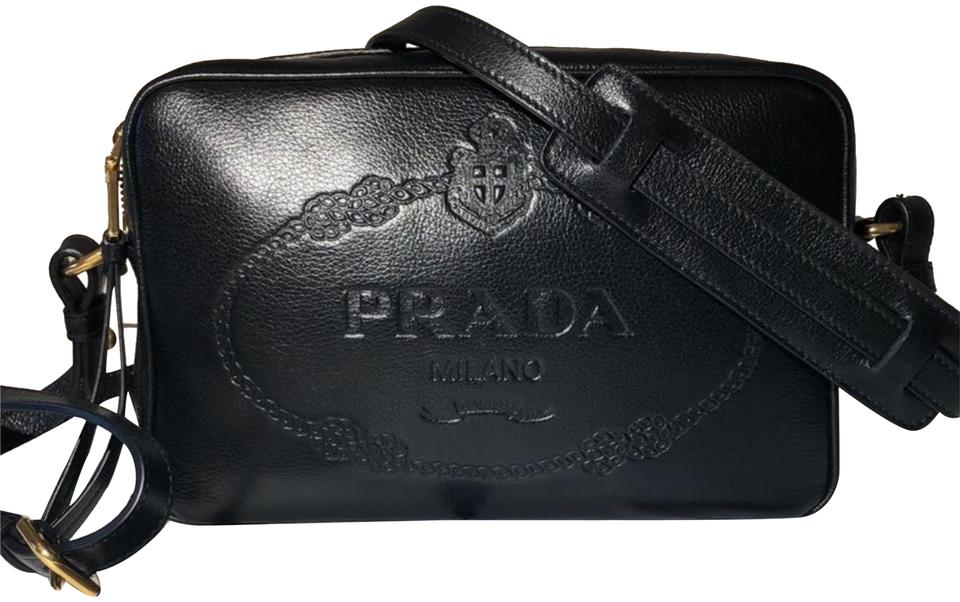 ef3cd94ea7cb Prada Bandoliera GlacÉ Calf Black Leather Cross Body Bag - Tradesy