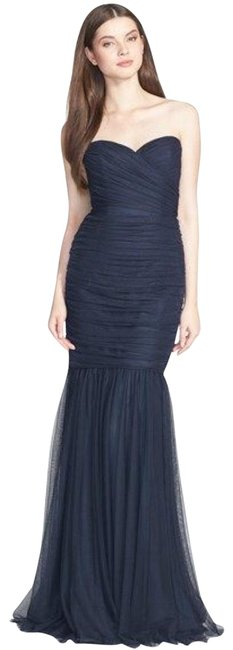 Preload https://img-static.tradesy.com/item/24165627/amsale-navy-tulle-strapless-sweet-heart-mermaid-bridesmaid-gown-long-formal-dress-size-4-s-0-2-650-650.jpg