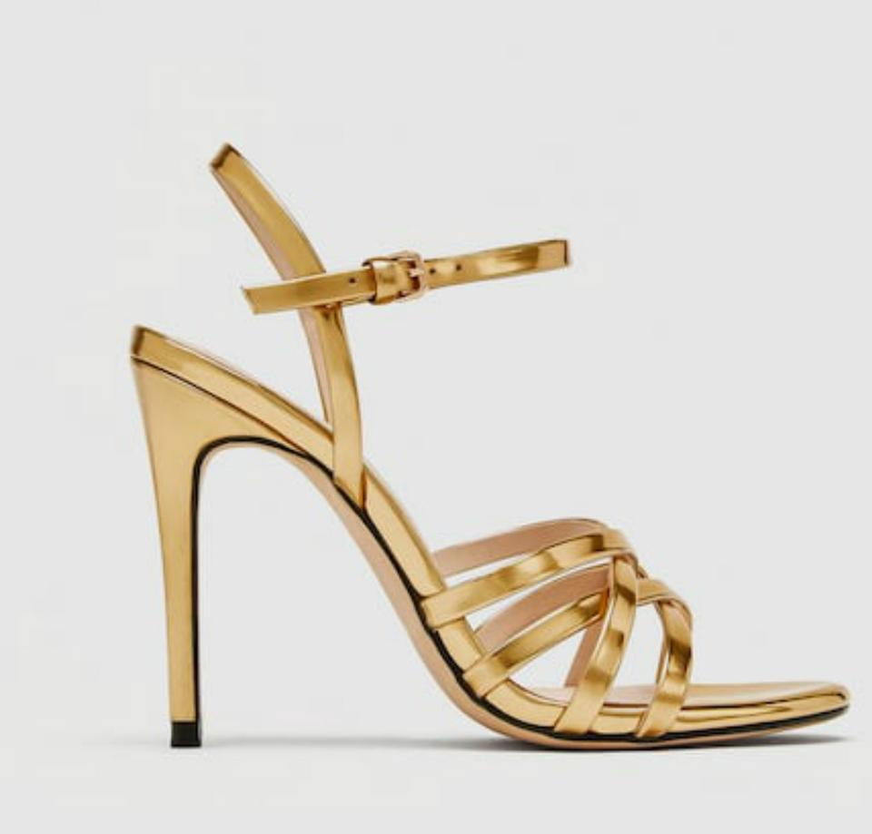 b9a164625cb Zara Gold High Heel Strappy Sandals Pumps Size US 6 Regular (M