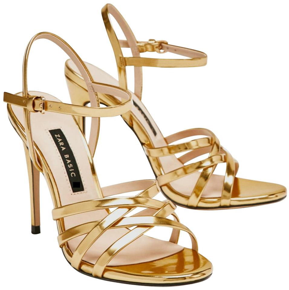 53833f807599 Zara Gold High Heel Strappy Sandals Pumps Size US 7.5 Regular (M