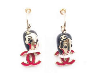 Chanel Chanel RARE Red CC Russian Doll Hoop Large Piercing Earrings