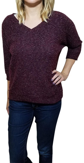 Preload https://img-static.tradesy.com/item/24165710/kut-from-the-kloth-maroon-34-sleeve-v-neck-purple-sweater-0-1-650-650.jpg