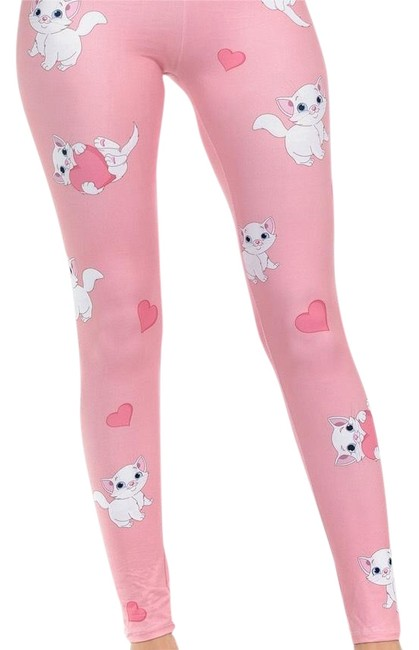 Preload https://img-static.tradesy.com/item/24165716/pink-lovely-cat-with-heart-leggings-size-os-one-size-0-1-650-650.jpg