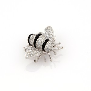 Other Diamond Onyx 18k White Gold Bumble Bee Brooch Pin