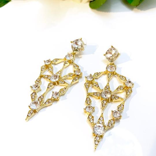 Gold Tone Evening Earrings crystal large evening earrings
