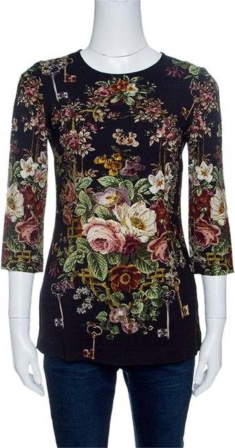 Preload https://img-static.tradesy.com/item/24165768/dolce-and-gabbana-black-floral-print-long-sleeve-s-blouse-size-6-s-0-1-650-650.jpg