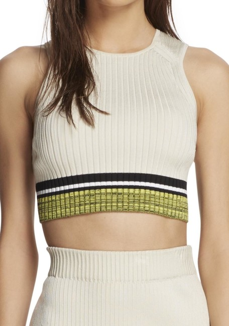 Rag & Bone Cropped Ribbed-knit Bodycon Sleeveless Stretchy Top Cream