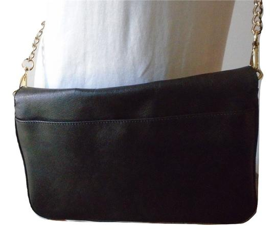 Cynthia Rowley Convertible Envelope Leather Black Clutch