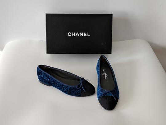 Chanel Black and Blue Flats