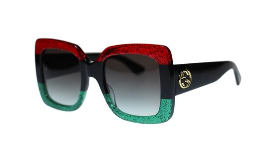 Gucci Red Black Green Square Gg0083s 001 Gradient Sunglasses