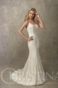 Christina Wu Ivory Over Light Gold Tulle and Lace 18087 Feminine Wedding Dress Size 12 (L)