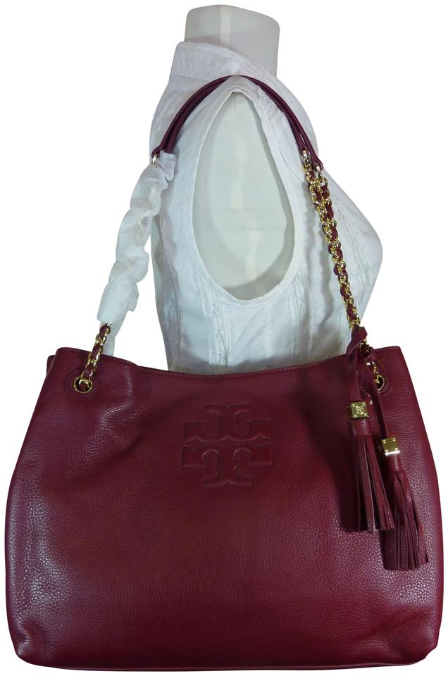 e3de5a36693f Tory Burch Thea Cabernet Chain Slouchy Wine Red Pebbled Leather Tote ...