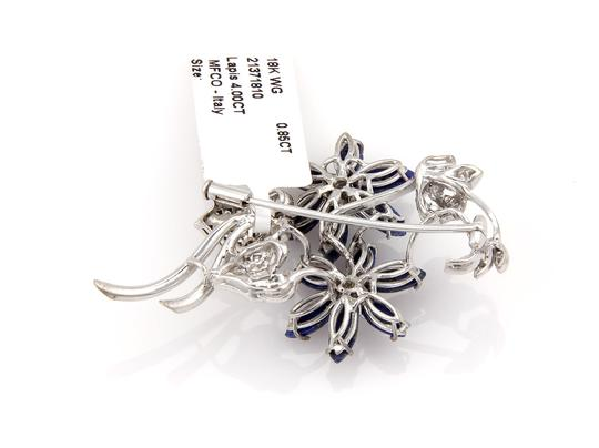 Other Diamond & Lapis 18k Gold Floral Brooch