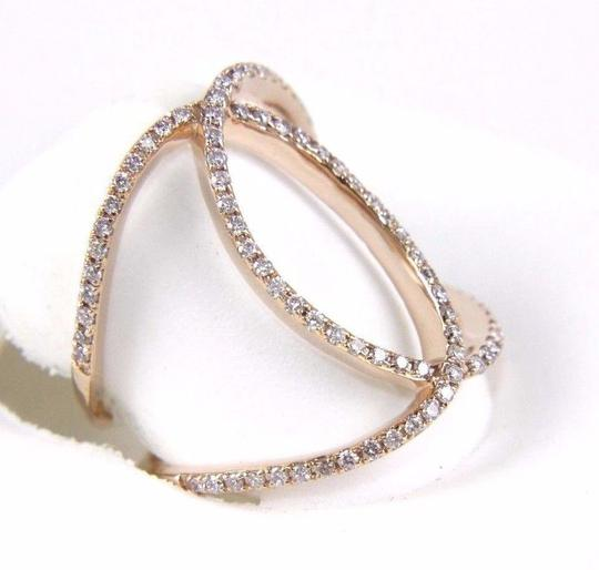 Other Round Diamond Criss Cross Lady's Ring Band 14k Rose Gold .38Ct