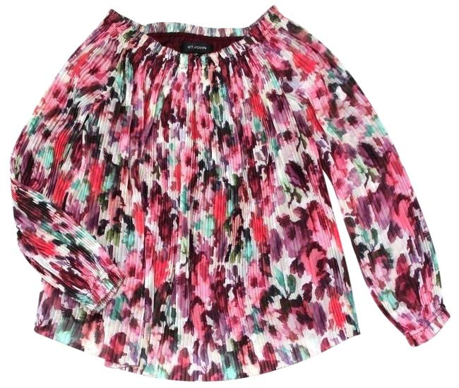 Preload https://img-static.tradesy.com/item/24165888/st-john-cerisecream-brigette-floral-print-off-shoulder-pleated-long-bishop-sleeves-blouse-size-10-m-0-1-650-650.jpg