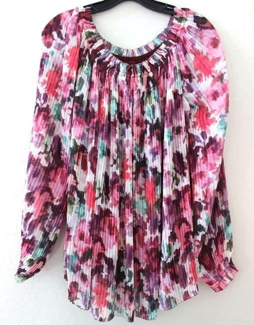 St. John Floral Off-shoulder Pleated Bishop Sleeve Silk Lining Top Cerise/Cream