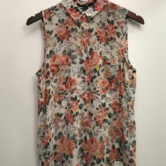 Forever 21 Top Sheer white with floral print
