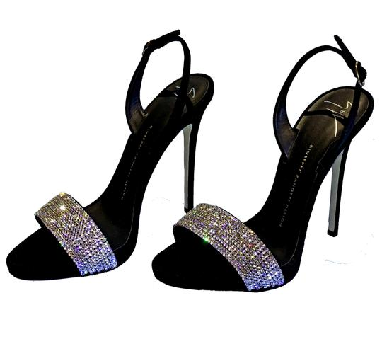 Giuseppe Zanotti Made In Italy Luxury Designer Crystal Embellished Sparkle Diamond Holiday Party Black Sandals