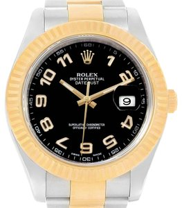 Rolex Rolex Datejust II Steel Yellow Gold Black Dial Mens Watch 116333 Box