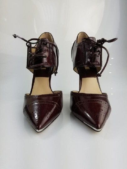 Michael Kors Collection Pointed Toe Stilleto Brogue Style Lace Up Bordeaux/Cordovan Pumps