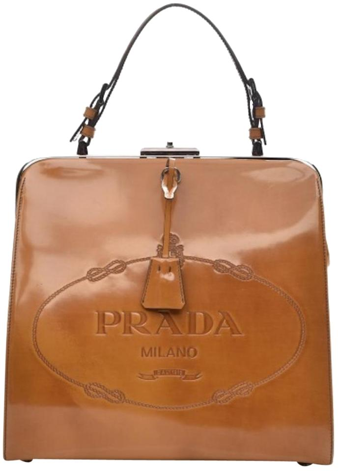 fb5f041c1786 Prada Devil Wears Frame Top Handle Doctor Kisslock Spazzolato Classic Logo  Caramel Cognac British Tan Amber Ambra Leather Shoulder Bag