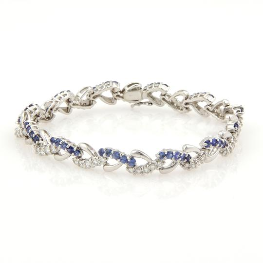 Other Diamond & Sapphire 18k Gold Heart Links Bracelet
