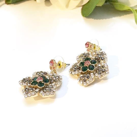 Gold Floral Earrings NEW floral crystal Evening earrings