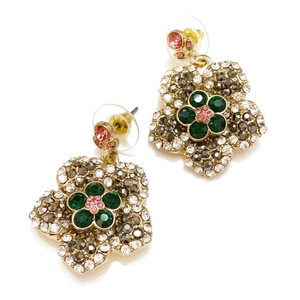 Floral Gold Earrings NEW crystal Evening earrings