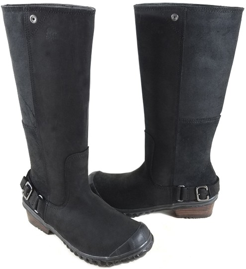Sorel Buckle Accents Knee-high Oiled Suede Panels Stacked Leather Heel Black Grill Boots